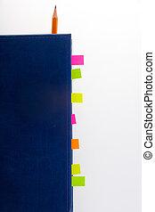 donker blauw, aantekenboekje, en, bookmarks