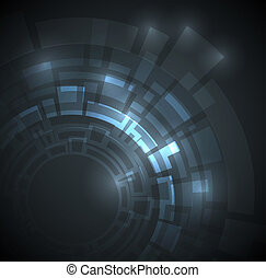 donker blauw, abstract, technisch, achtergrond