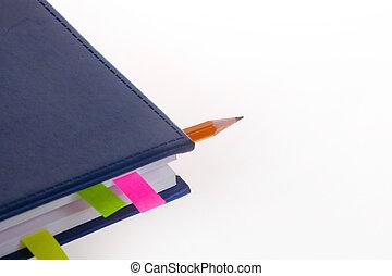 donker blauw, bookmarks, aantekenboekje