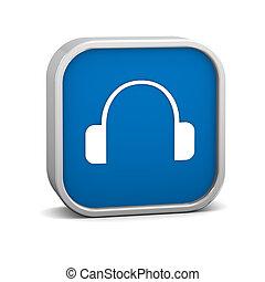donker blauw, koptelefoon, meldingsbord