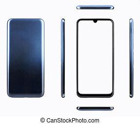 donker blauw, smartphone, generisch