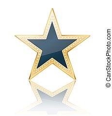 donker blauw, ster, met, gouden, frame, op wit