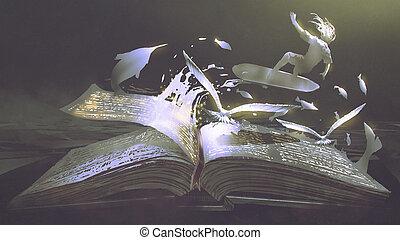 donker, boek, magisch, achtergrond, opening
