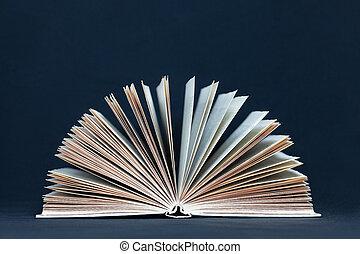 donker, boek, open, achtergrond, een