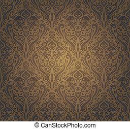 donker, bruine , behang, ontwerp, ouderwetse