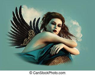donker, cg, vleugels, engel, 3d