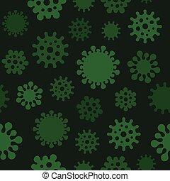 donker, coronavirus, achtergrond., seamless, model, vector
