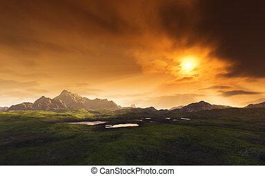 donker, fantasie, landscape