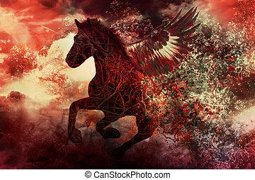 donker, fantasie, paarde