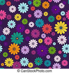 donker, floral, levendig, seamless, model