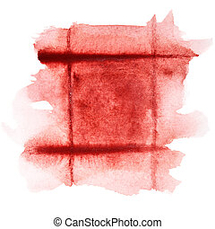 donker, frame, watercolor, rood
