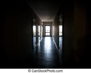 donker, gang, lang, deuren, flats