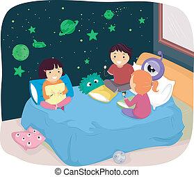 donker, gloed, stickers, slaapkamer