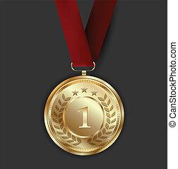 donker, gouden, medaille, achtergrond, toewijzen