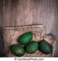 donker, hout, avocado, achtergrond