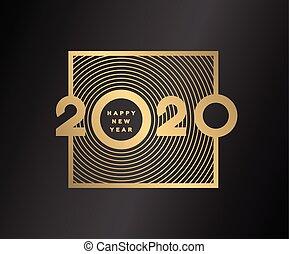 donker, illustration., goud, jaar, achtergrond., vector, 2020, getallen, nieuw, vrolijke
