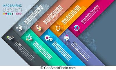 donker, infographics., etiketten, zakelijk, pictogram