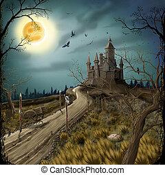donker, kasteel, nacht, maan