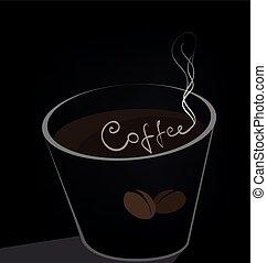 donker, koffie, achtergrond, kop