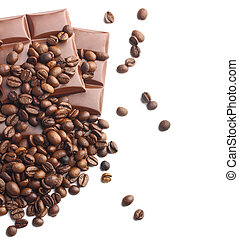 donker, koffie bonen, bovenzijde, chocolade