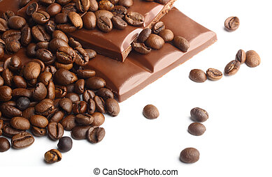 donker, koffie bonen, chocolade