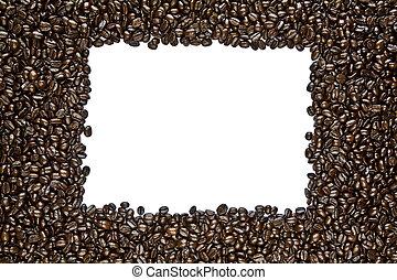 donker, koffie boon, gebraad, frame