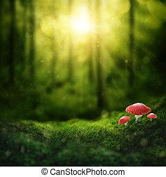 donker, magisch, bos