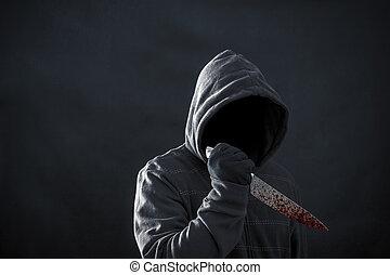 donker, man, hooded, mes, bloedig