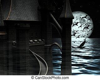 donker, mysterieus, kasteel, op, maan, achtergrond, met, black , vogels