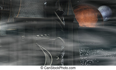donker, mysterieus, kasteel