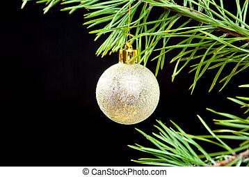 donker, naald, speelbal, tak, cristmas
