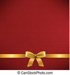 donker, rode kaart, met, gouden, lint