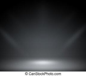 donker, schijnwerper, achtergrond, kamer