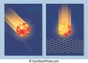 donker, set, vector, illustratie, behang