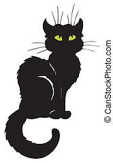 donker, silhouette, kat