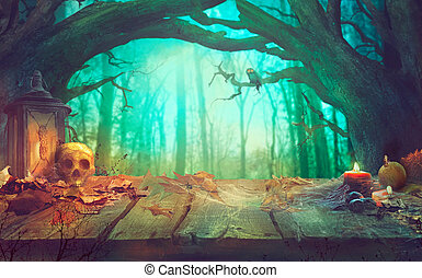 donker, spooky, halloween, forest., thema, pompoennen