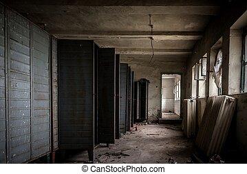 donker, staal, kamer, kluizen