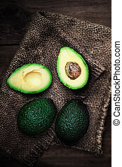 donker, stijl, halved, land, avocado, rustiek, achtergrond., hout, geheel