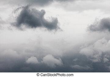 donker, strom, cloudscape, van, schrikaanjagend, bewolkte...