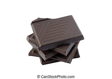 donker, stukken, chocolade