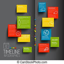 donker, tijdsverloop, rapport, infographic, mal
