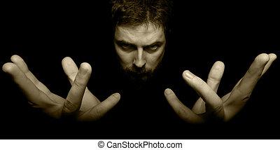 donker, tovenaar, handen, kwaad, gezicht