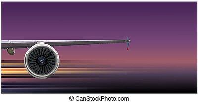 donker, turbine, lijnvliegtuig, vleugel, achtergrond