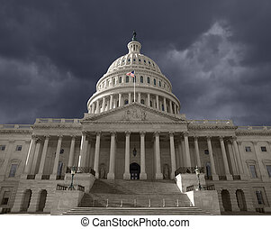 donker, verenigd, capitool, op, hemel, staten