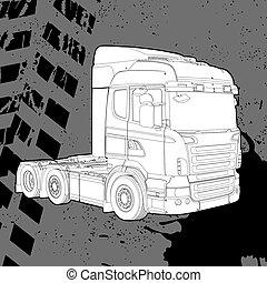 donker, vrachtwagen, achtergrond