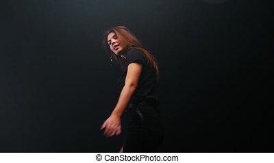 donker, vrouw, langharige, dancing, jonge