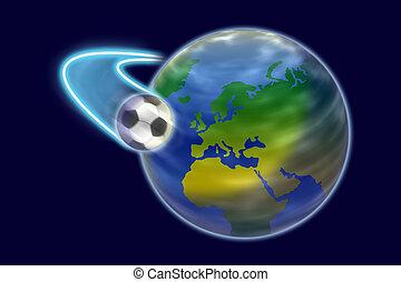 donker, wereld, voetbal, ongeveer, blue.