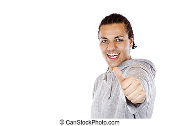 donkere-gevilde, duim, succesvolle , houden, op, tiener