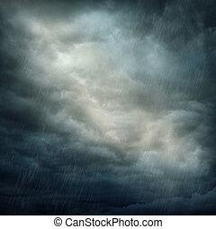 donkere wolken, en, regen