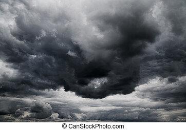 donkere wolken, storm, regen, voor
